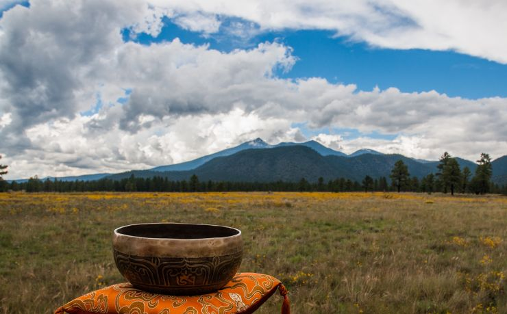 Flagstaff San Francisco Peaks at Buffalo Park with meditation bell in foreground